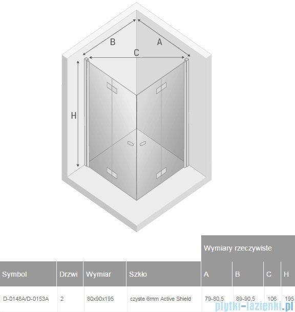 New Trendy New Soleo 80x90x195 cm kabina prostokątna przejrzyste D-0148A/D-0153A