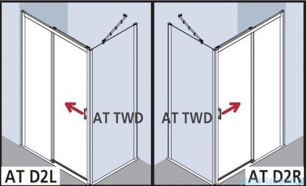 Kermi Atea Drzwi przesuwne bez progu, prawe, szkło przezroczyste, profile srebrne 160x200 ATD2R16020VAK