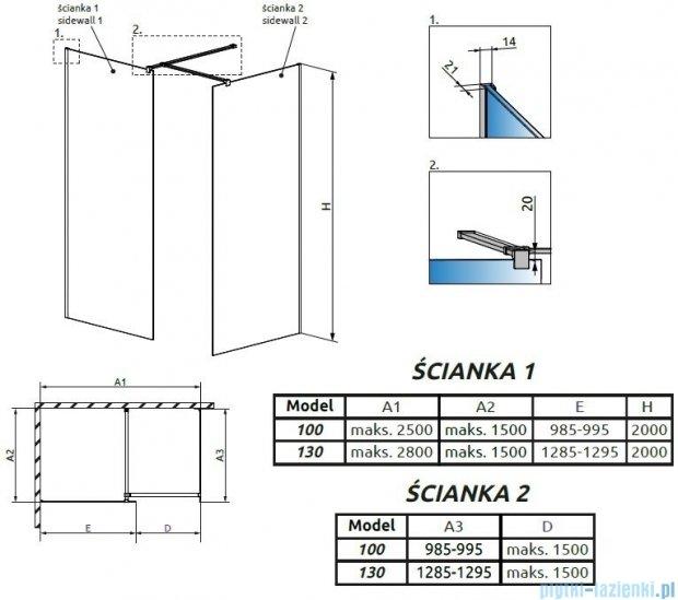 Radaway Modo New III kabina Walk-in 130x100x200 szkło przejrzyste 389134-01-01/389104-01-01/389000-01