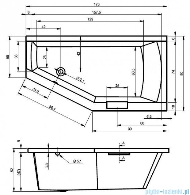 Riho Geta Wanna asymetryczna 170x90 lewa z hydromasażem TOP Hydro 6+4+2 BA89T2
