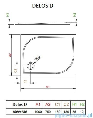 Radaway Brodzik prostokątny Delos D 100x75x5,5 cm 4D17555-03