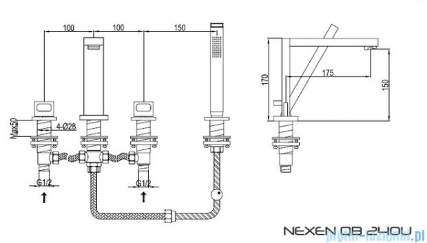 Kohlman Nexen 4-otworowa bateria wannowa QB240U