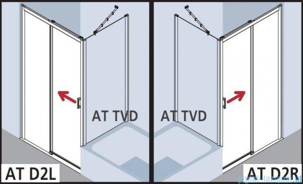 Kermi Atea Drzwi przesuwne bez progu, prawe, szkło przezroczyste KermiClean, profile srebrne 110x200 ATD2R11020VPK