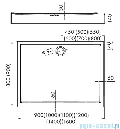 Schedpol Competia brodzik akrylowy z nośnikiem 140x90x14cm 3.0187