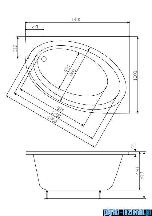 Roca Orbita wanna 140x100cm prawa z hydromasażem Effects Titanium A24T200000