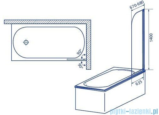 Aquaform Modern 1 parawan nawannowy 67x140cm szkło przejrzyste profil chrom mat 06954
