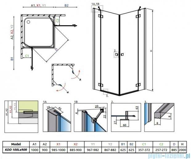 Radaway Essenza New Kdd kabina 100x90cm szkło przejrzyste 385062-01-01L/385060-01-01R