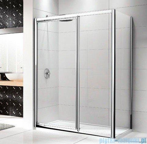 Novellini Drzwi prysznicowe LUNES G+F 114 cm szkło przejrzyste profil biały LUNESGF114-1D
