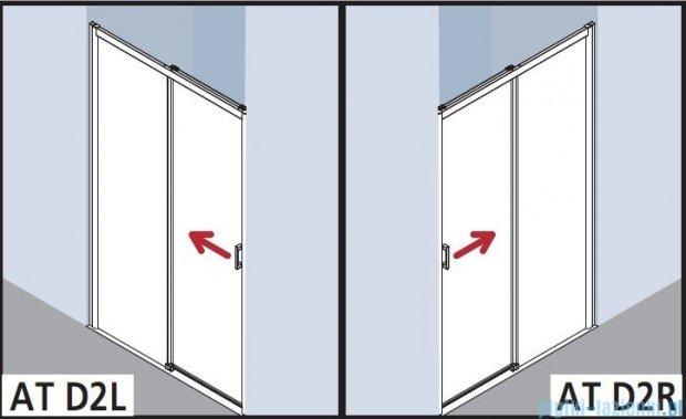 Kermi Atea Drzwi przesuwne bez progu, lewe, szkło przezroczyste, profile białe 150x200 ATD2L150202AK