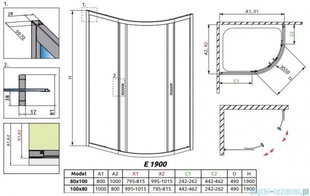 Radaway Premium Plus E Kabina półokrągła z drzwiami przesuwnymi 100x80x190cm szkło przejrzyste 30491-01-01N