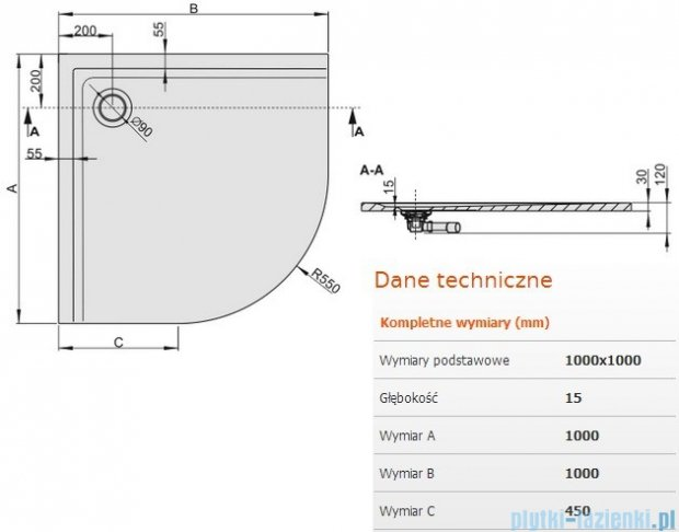Sanplast Brodzik półokrągły Space Mineral 100x100x1,5cm + syfon 645-290-0440-01-000