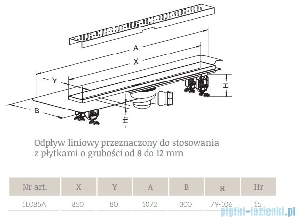 Radaway Basic Odpływ liniowy 85x8cm 5L085A,5R085B