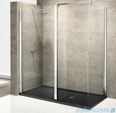 Novellini Elysium Kuadra H35 Ścianka boczna 110 szkło przejrzyste profil chrom KUADH110-1K