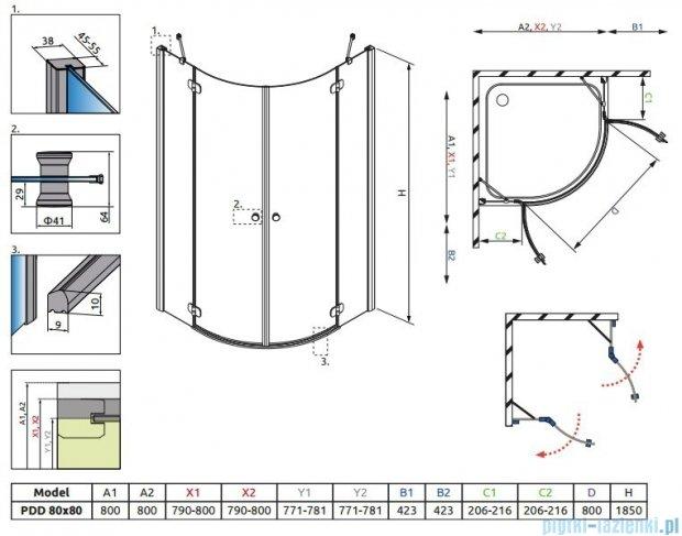 Radaway Torrenta PDD kabina półokrągła 80x80 szkło grafitowe + brodzik Delos A + syfon 31610-01-05N