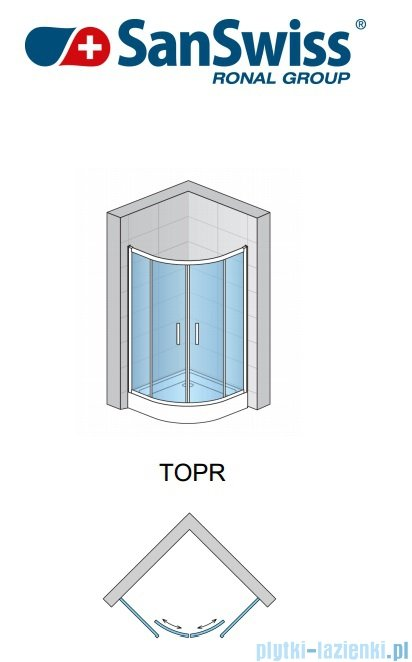 SanSwiss Top-Line TOPR Kabina prysznicowa półokrągła 75-90cm profil biały TOPR50SM10407