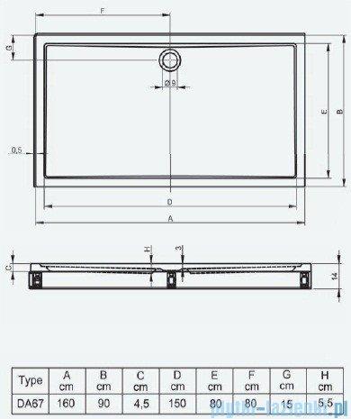 Riho Brodzik prostokątny płaski 259 160x90x14 DA67 + nóżki + panel