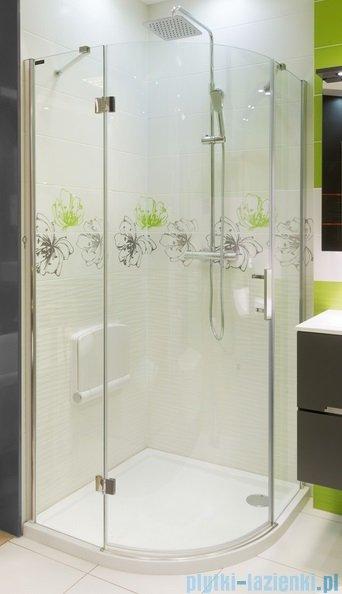 Omnires Manhattan kabina jednoskrzydłowa półokrągła 3M™ Easy Clean 100x100x195cm szkło przejrzyste ADF10XLUX-T
