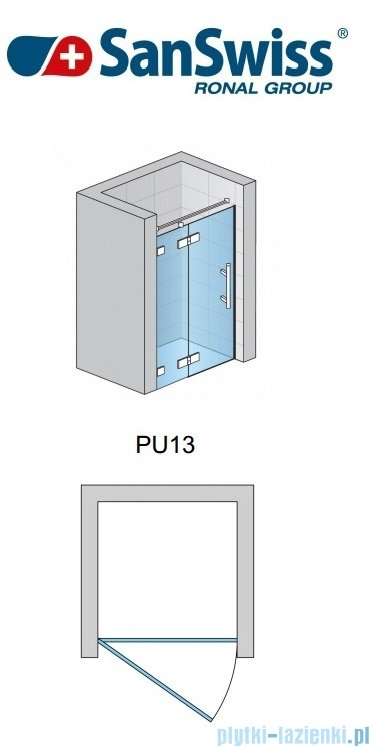 SanSwiss Pur PU13 Drzwi jednoczęściowe wymiar specjalny profil chrom szkło Cieniowanie czarne Lewe PU13GSM21055