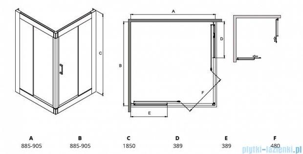 Besco Modern kabina kwadratowa 90x90x185cm mrożone MK-90-185-M