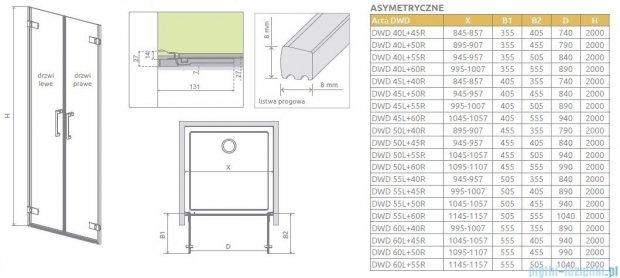 Radaway Arta Dwd drzwi wnękowe 60cm część prawa szkło przejrzyste 386034-03-01R