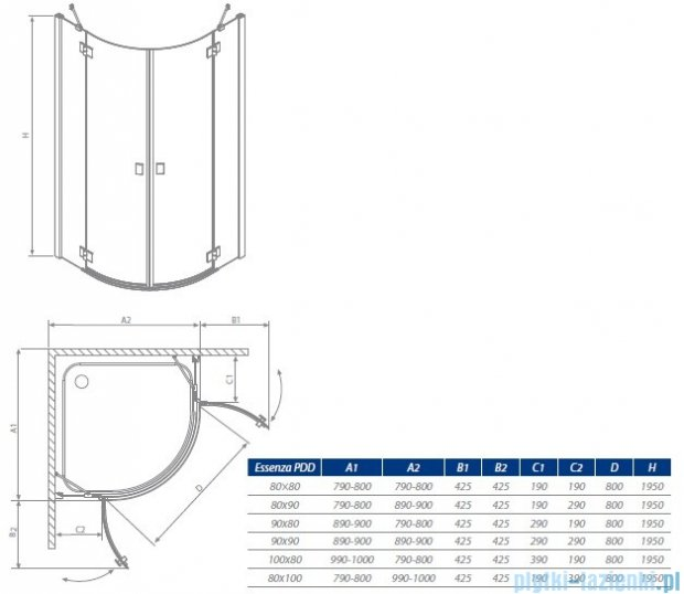 Radaway Essenza PDD kabina 80x80 szkło przejrzyste + brodzik Delos A + syfon