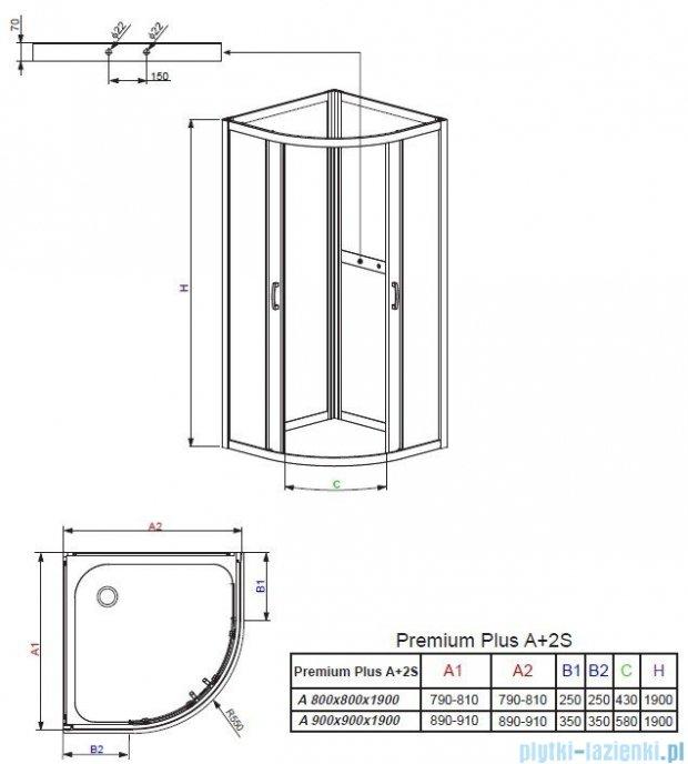 Radaway Premium Plus 2S Komplet ścianek tylnych 90x90 szkło przejrzyste 33433-01-01N