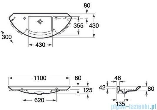 Roca Mohave Umywalka ścienna 110x43cm bez otworu na baterię powłoka Maxi Clean A32787900M
