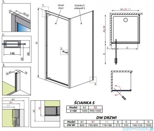 Radaway Twist DW+S Kabina prysznicowa 80x100 szkło przejrzyste 382001-01/382013-01