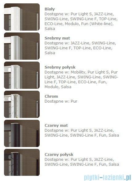 SanSwiss Swing Line SLE2 Wejście narożne 75cm profil srebrny Prawe SLE2D07500107