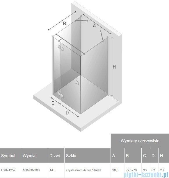 New Trendy Reflexa 100x80x200 cm kabina trójścienna lewa przejrzyste EXK-1257