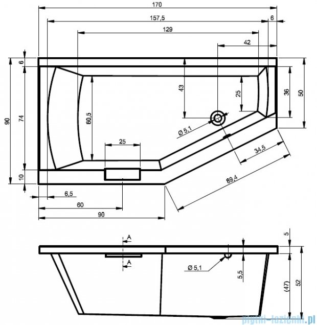 Riho Geta Wanna asymetryczna 170x90 prawa z hydromasażem HIT Hydro 6+4+2 BA88H2