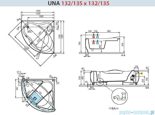 Novellini Wanna UNA HYDRO PLUS 135x135 UNA4135135PC-A0K