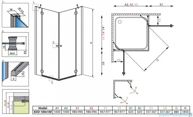 Radaway Torrenta Kdd kabina 100x100 szkło grafitowe + brodzik Delos C + syfon 32272-01-05N