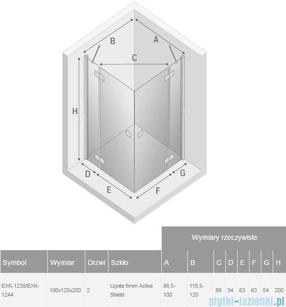 New Trendy Reflexa 100x120x200 cm kabina prostokątna przejrzyste EXK-1238/EXK-1244