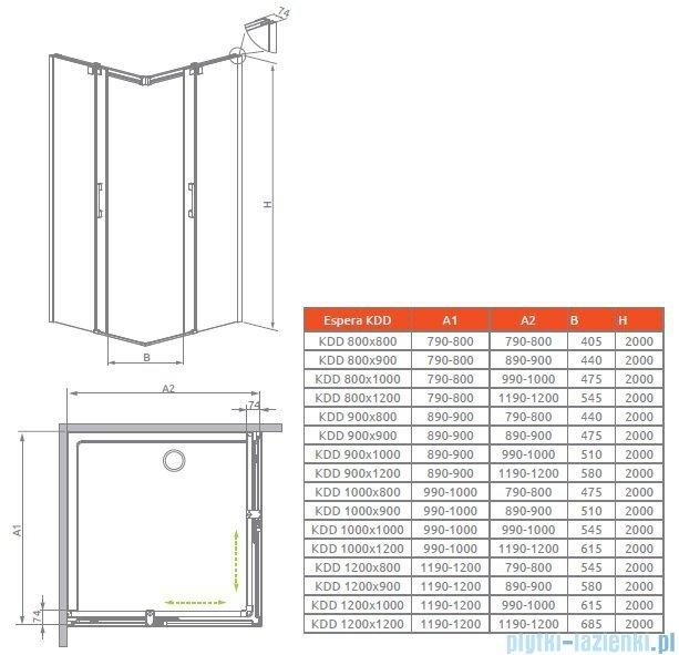Radaway Espera KDD Kabina prysznicowa 100 część lewa szkło przejrzyste 380152-01L
