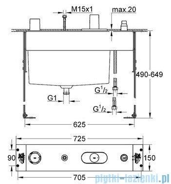 Grohe Atrio 4-otworowa bateria wannowa część podtynkowa chrom 34086000