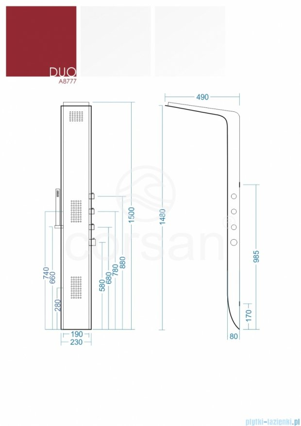 Corsan Duo Panel natryskowy z termostatem biało-czarny A-8777TDUO