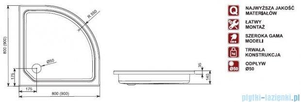 Aquaform Plus 550 brodzik półokrągły średni 80x80cm 06947