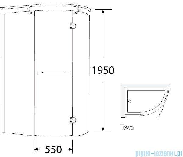 Sea Horse Sigma kabina natryskowa narożna Klio lewa 120x85 szkło: grafitowe,   BK261GL