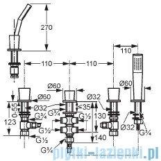 Kludi Joop Bateria wannowo-natryskowa bez wylewki DN 15 chrom/szkło zielone 55426H705
