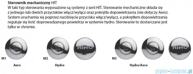Riho Carolina wanna prostokątna 180x80 z hydromasażem Hit Aero11 BB54H1
