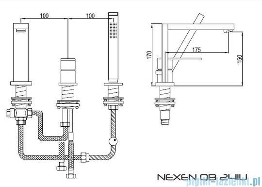 Kohlman Nexen 3-otworowa bateria wannowa QB241U