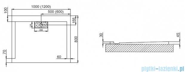 Polimat Comfort brodzik akrylowy posadzkowy 120x80 biały mat 00159