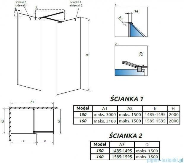 Radaway Modo New III kabina Walk-in 160x150x200 szkło przejrzyste 389164-01-01/389154-01-01/389000-01