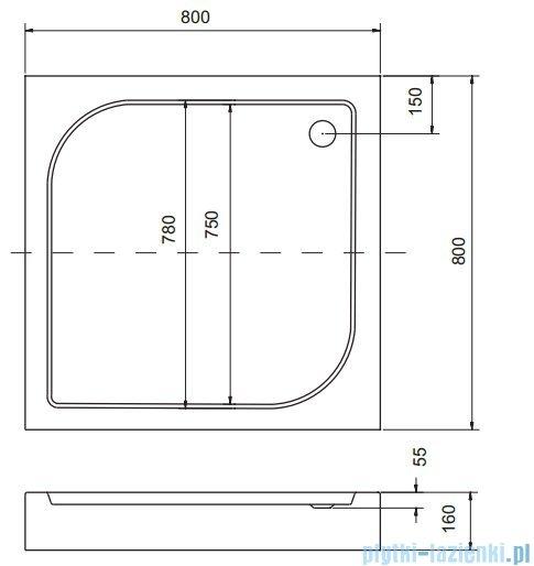 Sea Horse Sigma zestaw kabina natryskowa kwadratowa 80x80 przejrzyste  + brodzik BKZ1/1/Q