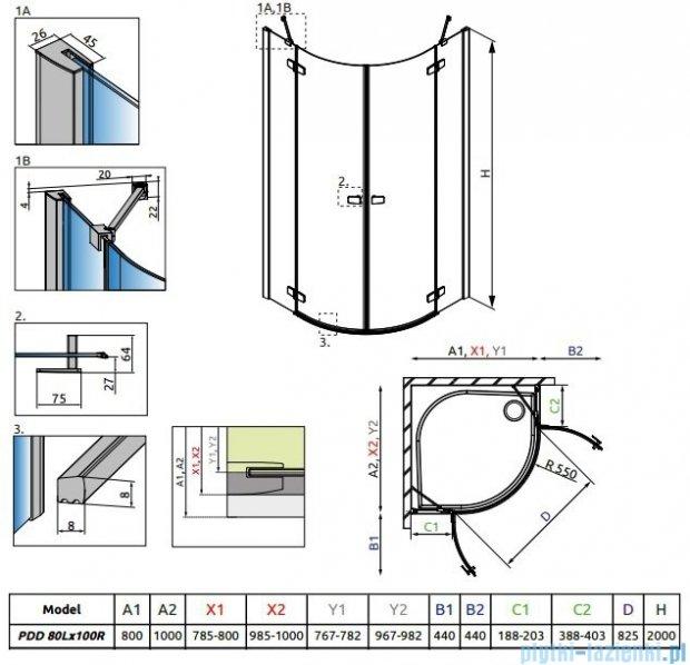 Radaway Fuenta New Pdd kabina 80x100cm szkło przejrzyste 384002-01-01L/384003-01-01R
