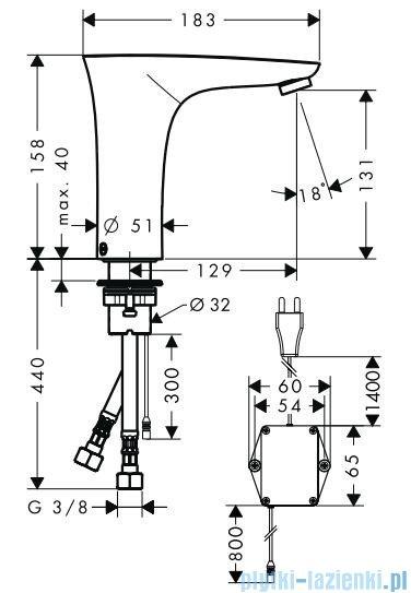 Hansgrohe PuraVida Electronic Samoczynna bateria umywalkowa na podczerwień chrom 15172000