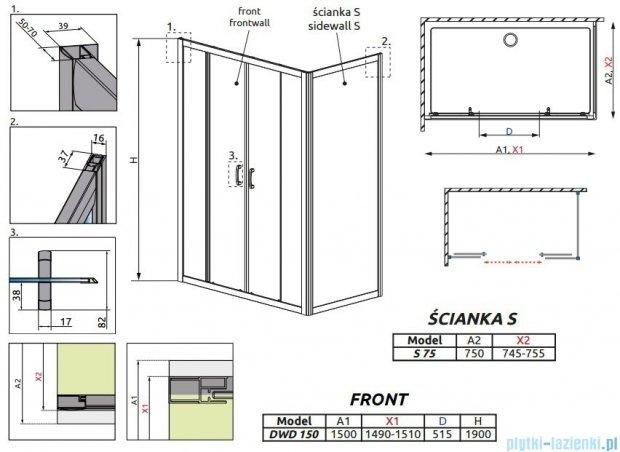 Radaway Premium Plus DWD+S kabina prysznicowa 150x75cm szkło przejrzyste 33393-01-01N/33402-01-01N