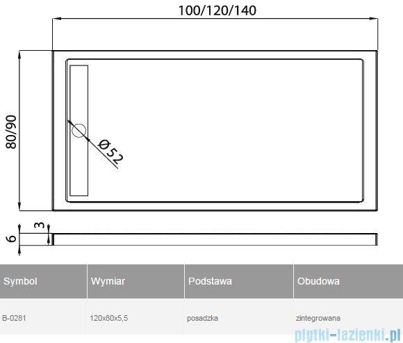 New Trendy Alter brodzik prostokątny 120x80x5,5cm B-0281