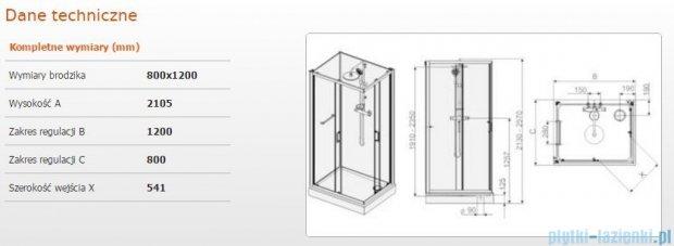 Sanplast Kabina czterościenna kompletna kpl-KCKN/CLII-80x120 80x120x210 cm przejrzysta 602-011-0070-01-4B1